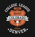 colorado denver vintage baseball graphic for vector image vector image