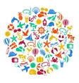 colorful summer icons on white background vector image vector image