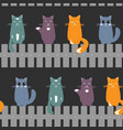 cute seamless pattern background with cats seating vector image vector image