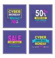 cyber monday flyers set mega sale banners design vector image vector image