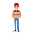 delivery man is holding a parcel box vector image vector image