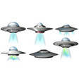 different designs of ufo flying vector image