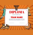 diploma for winner in basketball competition vector image vector image