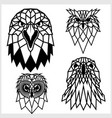 eagle and owl - animal heads icons vector image vector image