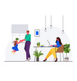 father playing with little daughter mother sitting vector image