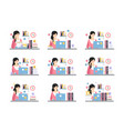 female office worker daily work scenes with vector image vector image