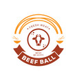 fresh beef ball logo with cow noodle and bowl vector image vector image