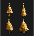 Gold christmas tree set polygon triangle low poly vector image vector image