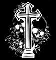 gothic coat of arms with skull and rosary grunge vector image vector image