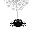 halloween cartoon card with spider and web vector image vector image