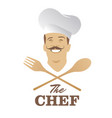 handsome chef with mustache and wooden spoon and vector image