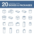 Icons boxes and Packaging simple linear style vector image
