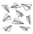 isolated various paper planes black outline flying vector image