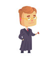 judge man character in a black robe standing and vector image