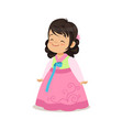little girl wearing pink dress national costume vector image vector image