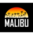 Malibu surf sport typography t-shirt graphics vector image