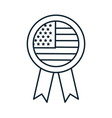 medal with usa flag line style icon vector image vector image