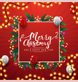 merry christmas and a happy new year red square vector image vector image