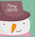 merry christmas celebration cute snowman face vector image