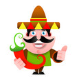 mexican man in sombrero and poncho showing okey vector image vector image