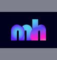 mh m h spink blue gradient alphabet letter vector image vector image