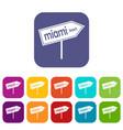 miami arrow post sign icons set vector image vector image