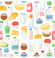 milk and diary products pattern vector image