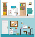 office workplaces set scenes icons vector image vector image