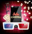 online cinema banner realistic smart phone vector image vector image