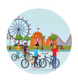 people in the amusement park vector image vector image