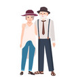 romantic elderly couple pair of old cute man and vector image