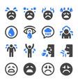 sad icon set vector image
