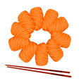 Salmon Sashimi with Chopsticks on White Background vector image