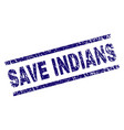 scratched textured save indians stamp seal vector image vector image