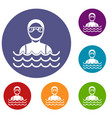 scuba diver man in diving suit icons set vector image vector image