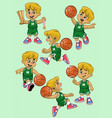 set cartoon white boy basketball player vector image vector image