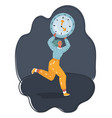stress - woman running late with clock on arm vector image vector image