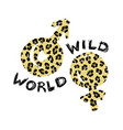 t-shirt print with word wild world and symbols of vector image vector image