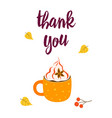 thanksgiving card with cup isolated vector image vector image