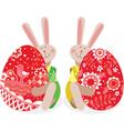 Two rabbits with Easter eggs vector image