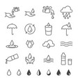 water and drop icon set in thin line style vector image vector image