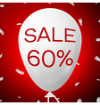 White Baloon with text Sale 60 percent Discounts vector image vector image