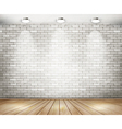 White brick room with spotlights