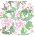 White Seamless pattern with pink peonies and vector image