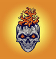 angry skull flame fire vector image vector image