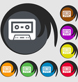 audiocassette icon Symbols on eight colored vector image vector image