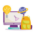 back to school computer backpack science vector image vector image