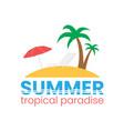 beach logo on white backdrop flat holiday vector image vector image