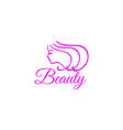 beautiful womans face logo design template hair vector image