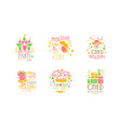 birthday party for kids logo templates design set vector image